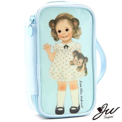 JW-快樂微笑小公主粉嫩長方型隨身萬用化妝包-海軍