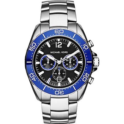 Michael Kors Winward 冒險玩家計時腕錶-黑x銀/45mm