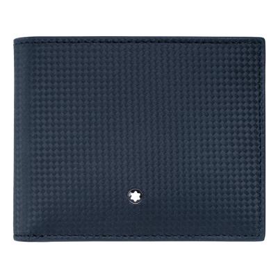 萬寶龍碳纖維紋牛皮8卡短夾-深藍