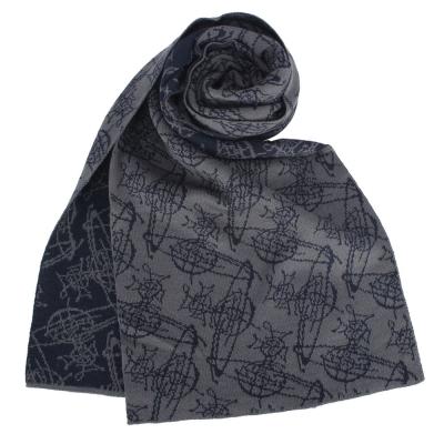 Vivienne Westwood 雙面滿版塗鴉星球羊毛圍巾-灰/深藍