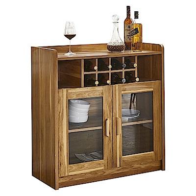AT HOME-萊姆2.8尺淺胡桃酒瓶收納兩門餐櫃(85*40*80cm)