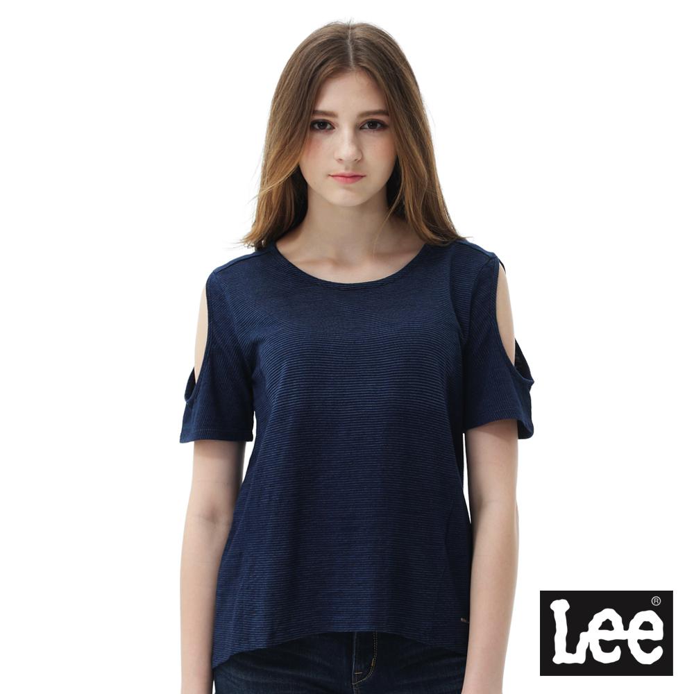 Lee 短袖T恤 短袖袖子摟空圓領TEE/BO-女款-藍