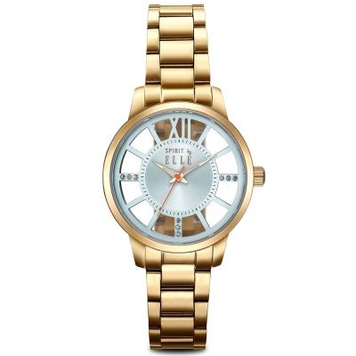 ELLE 獨特鏤空錶盤不鏽鋼時尚腕錶-銀/36mm