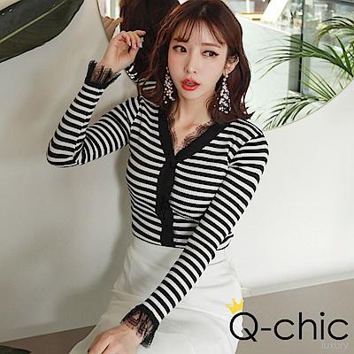 正韓 蕾絲V領長袖針織外套 (共六色)-Q-chic