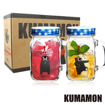KUMAMON熊本熊-梅森玻璃杯600ml-2入禮