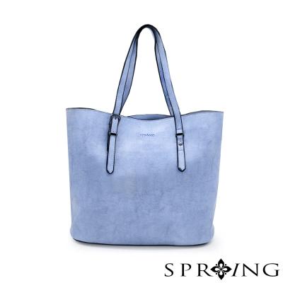 SPRING-真皮大理石紋簡單生活托特包-清澈藍