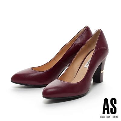 AS-經典素面羊皮尖頭粗跟鞋-紅