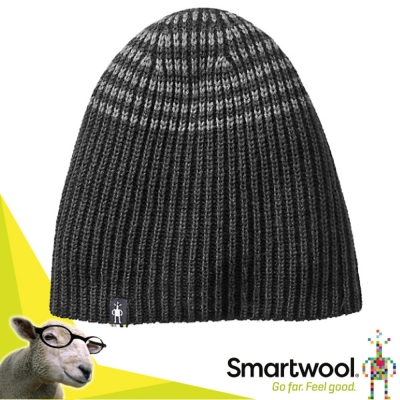 【SmartWool】Ribbon Creek 美麗諾羊毛 編織毛呢軟帽/炭黑色