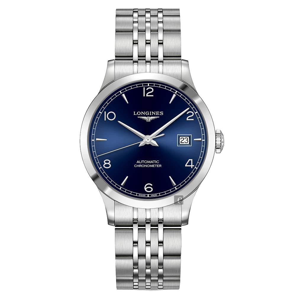 LONGINES浪琴 Record 開創者天文台認證矽游絲機械錶-藍x銀/40mm