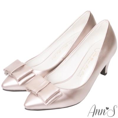 Ann'S氣質典雅-立體大方蝴蝶結尖頭跟鞋-玫瑰金