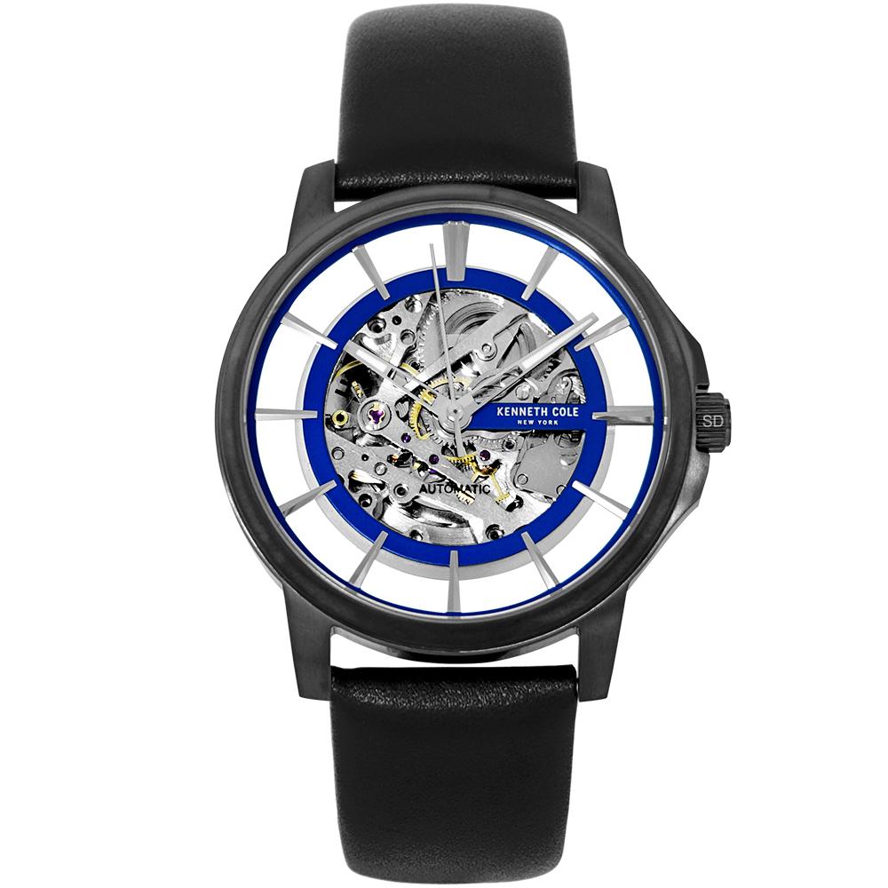 Kenneth Cole 紳士風尚真皮鏤空機械手錶-藍X黑/42mm