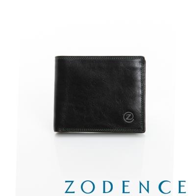 ZODENCE-MAN-簡約系列兩折經典窗短夾-黑
