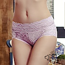 內褲  花漾蕾絲透氣全蠶絲內褲-淺紫 La Queen