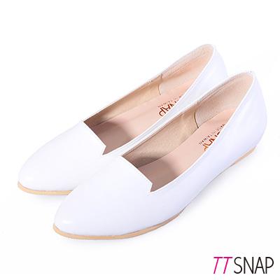 TTSNAP內增高-MIT小V口真皮樂福平底鞋-白
