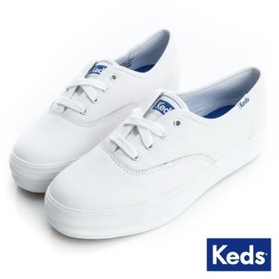 Keds 品牌經典厚底皮質綁帶休閒鞋-白