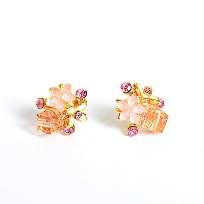 微醺禮物 正韓 鋼針 粉紅色小花 金色方塊水鑽  小鑽 耳針 耳環