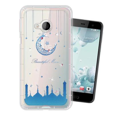 WT HTC U Play 5.2吋 奧地利水晶彩繪空壓手機殼(月彎星辰)