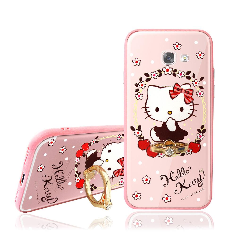 Hello Kitty貓 Samsung A7 (2017) 指環扣支架手機殼(蘋果佳人)