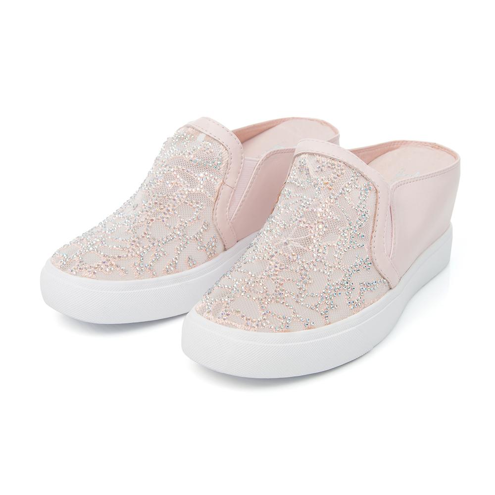TAS 蕾絲水鑽楔型休閒包鞋-甜美粉