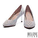 高跟鞋 HELENE SPARK 奢華閃爍晶鑽鏤空造型羊麂皮尖頭高跟鞋-銀