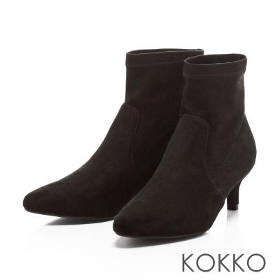KOKKO- 慵懶迷人尖頭顯瘦小貓跟襪靴-百搭黑