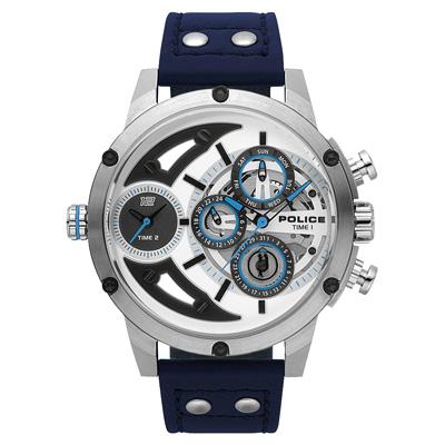 POLICE 機械禁區時尚腕錶-藍色x鋼色/50mm