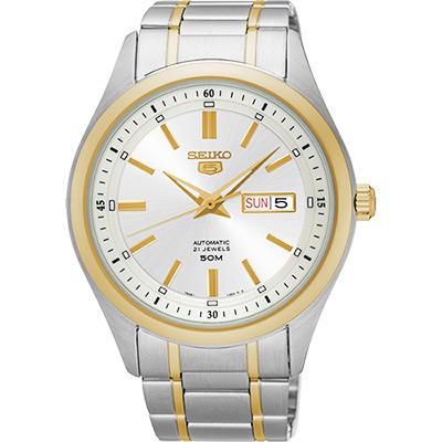 SEIKO 精工5號盾牌日曆機械腕錶(SNKN92J1)-銀x雙色/44mm
