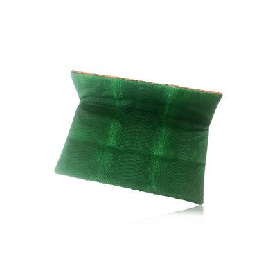 ACUBY 限量單品手工蛇皮摺疊手拿包/熱帶橙