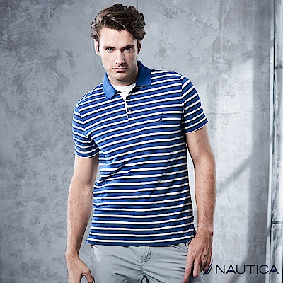 Nautica 陽光型男條紋短袖POLO衫 -藍白