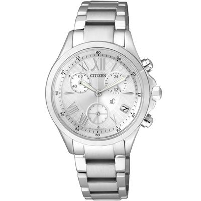 CITIZEN xC 光動能輕盈舞步三眼計時腕錶(FB1400-60A)-自信白/32mm