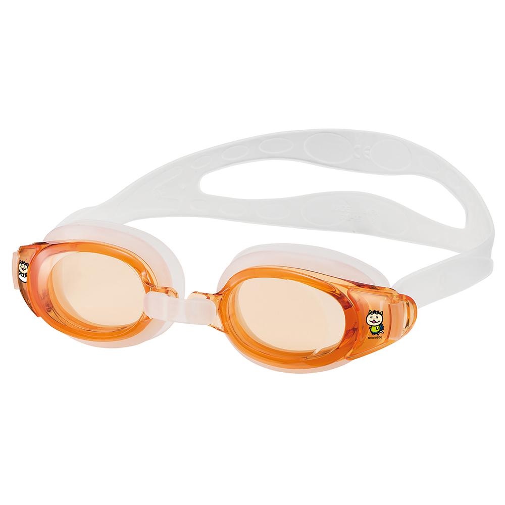 【SWANS 日本】專業光學兒童專用泳鏡 ( 防霧/抗UV/矽膠 SEG-1 柑)