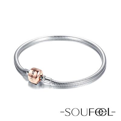 SOUFEEL索菲爾 925純銀珠飾 基礎手鍊(玫瑰金)
