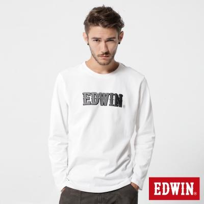 EDWIN 賽車旗格LOGO長袖T恤-男-白色