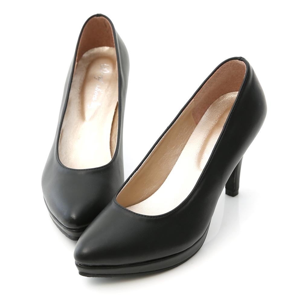 D+AF 美腿比例‧MIT素面尖頭8cm高跟鞋*黑