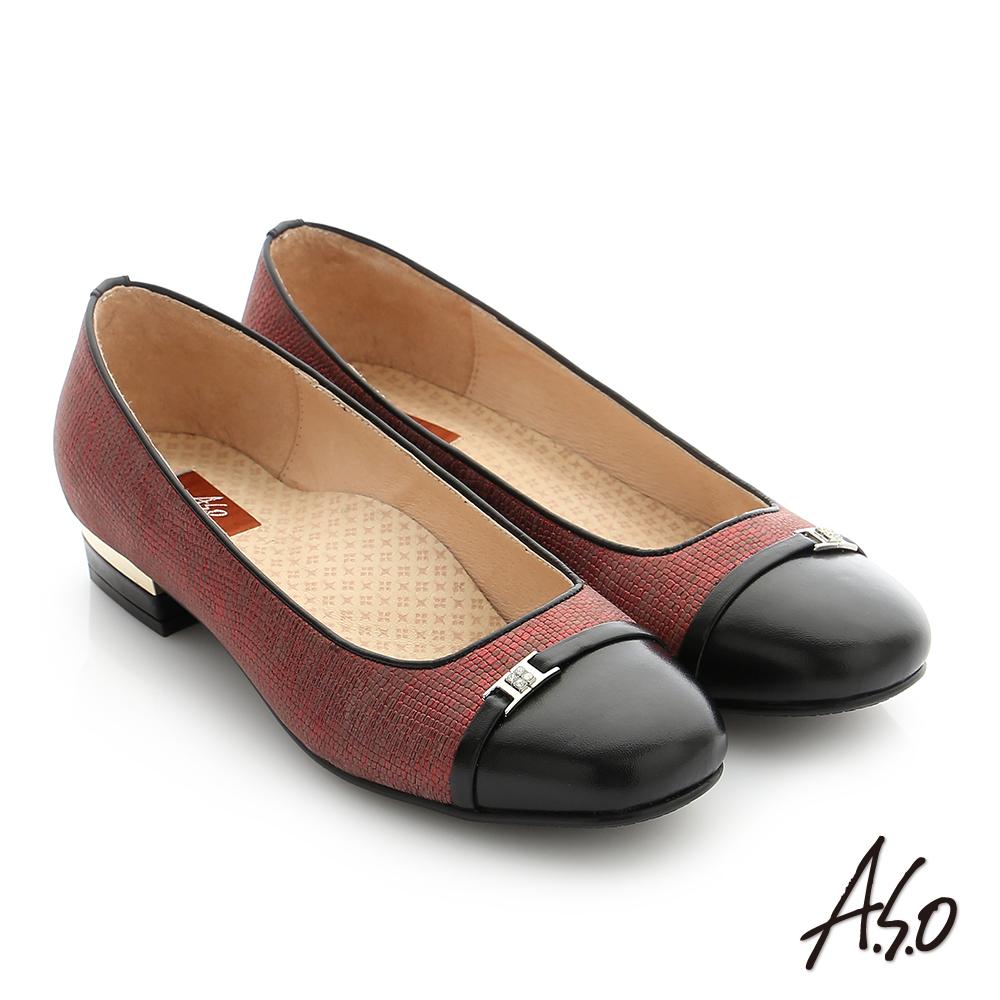 A.S.O 舒適通勤 全真皮水鑽飾釦奈米低跟鞋 酒紅色
