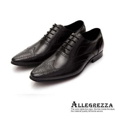 ALLEGREZZA-藝紋雕花尖頭綁帶鞋黑