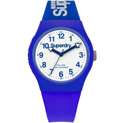 Superdry 極度乾燥 Urban繽紛玩色時尚腕錶-白X藍/38mm