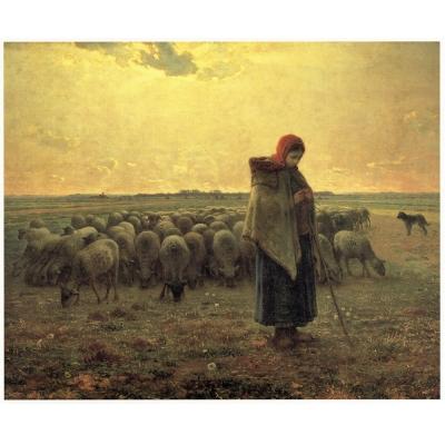 開運陶源【牧羊女與羊群】米勒名畫中幅