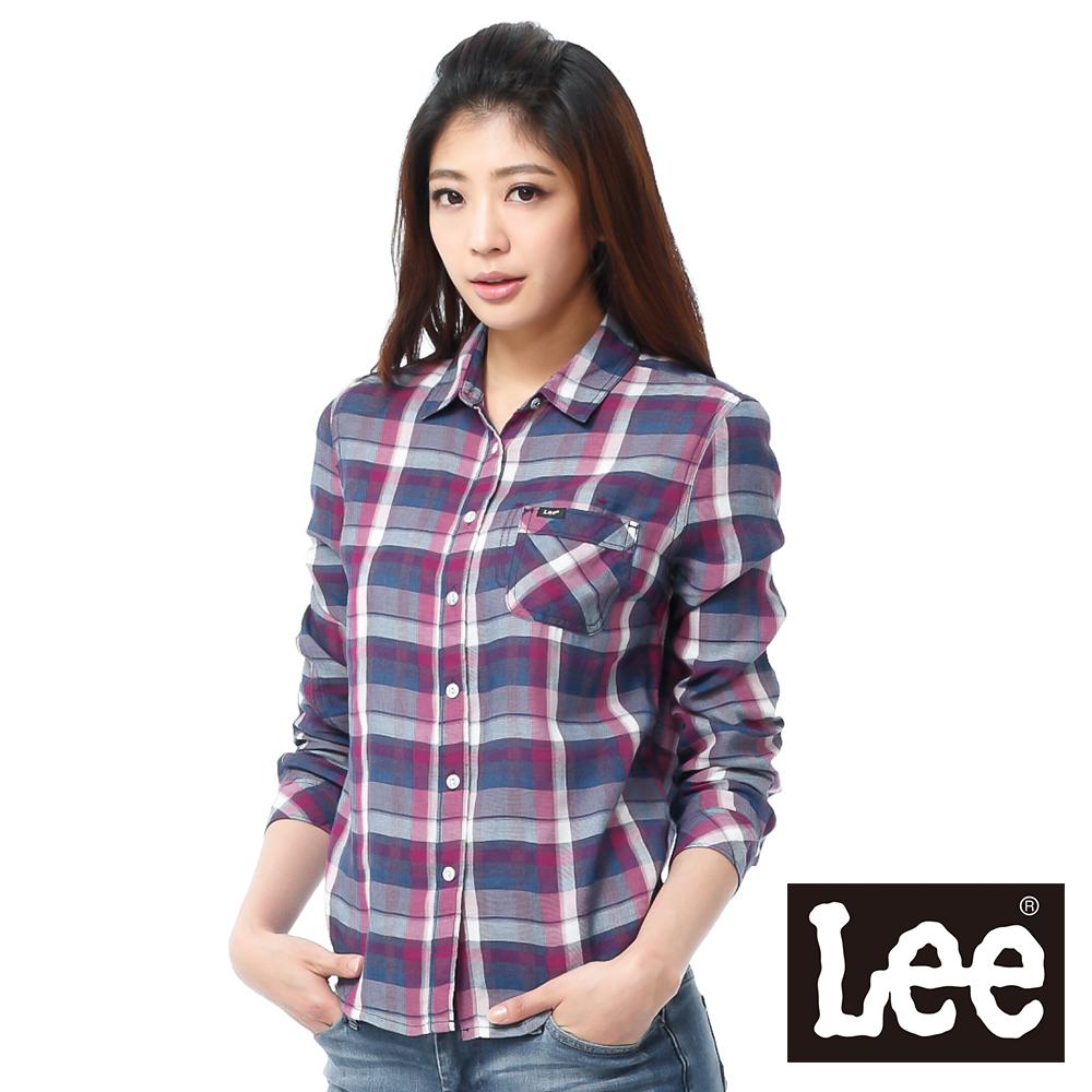 Lee 長袖襯衫 透氣格紋-女款(紫格紋)