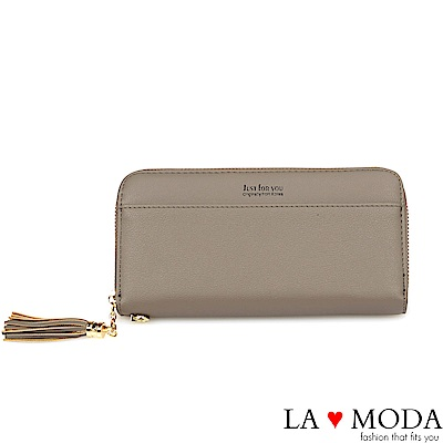 La Moda 大人氣熱銷流蘇綴飾大容量拉鍊長夾(灰)
