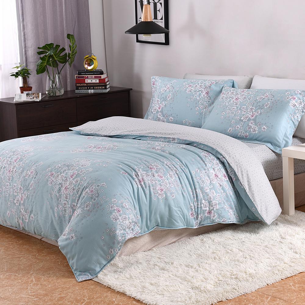 DON艾薇花園 雙人四件式天絲柔棉兩用被床包組