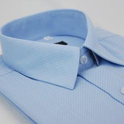 金‧安德森 藍色斜紋長袖襯衫