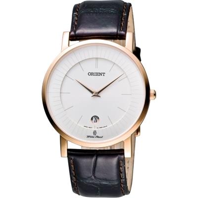 ORIENT 紳士都會薄型錶殼腕錶-銀x玫瑰金框/咖啡/38mm