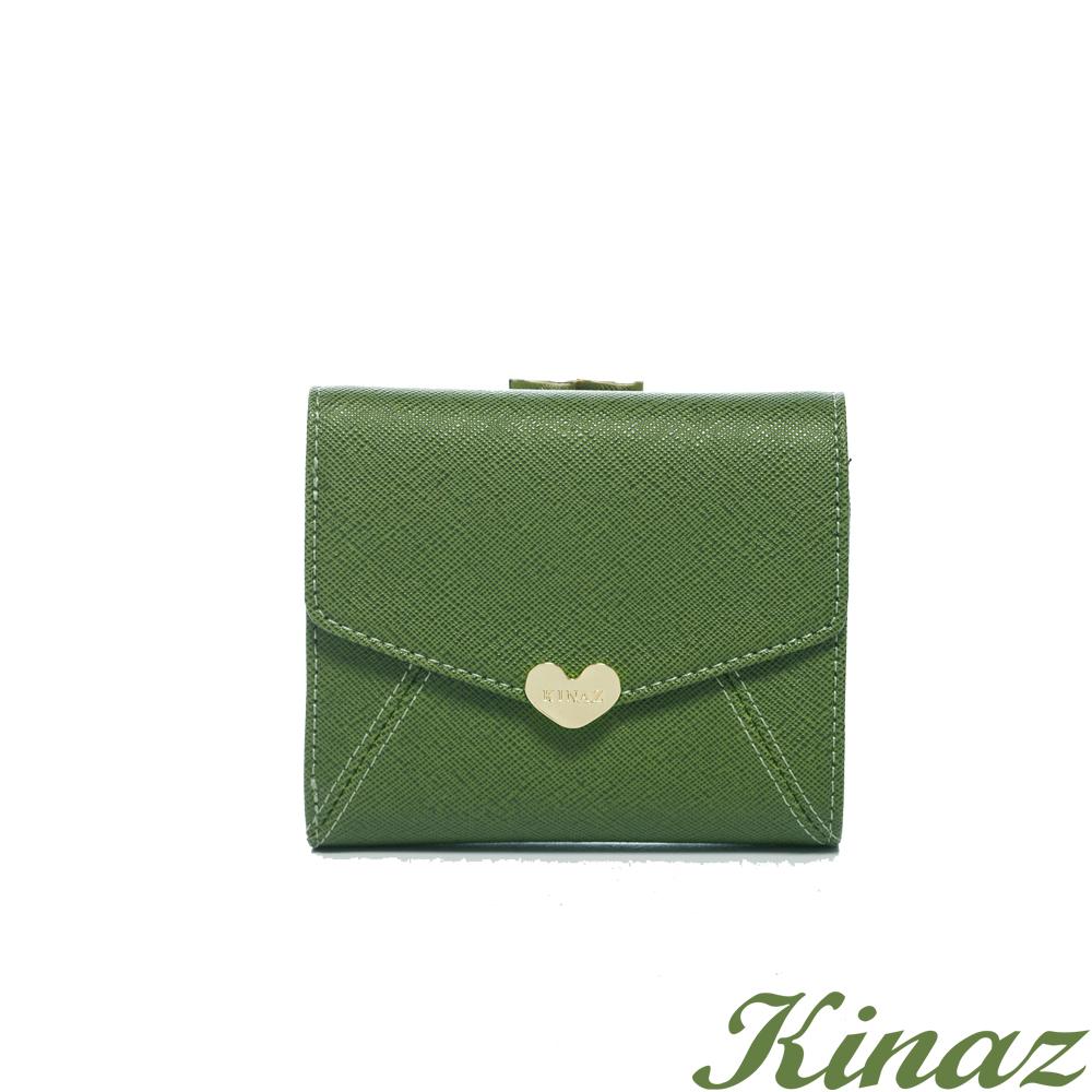 KINAZ 最愛愛麗絲~甜蜜女孩信封短夾-森林綠