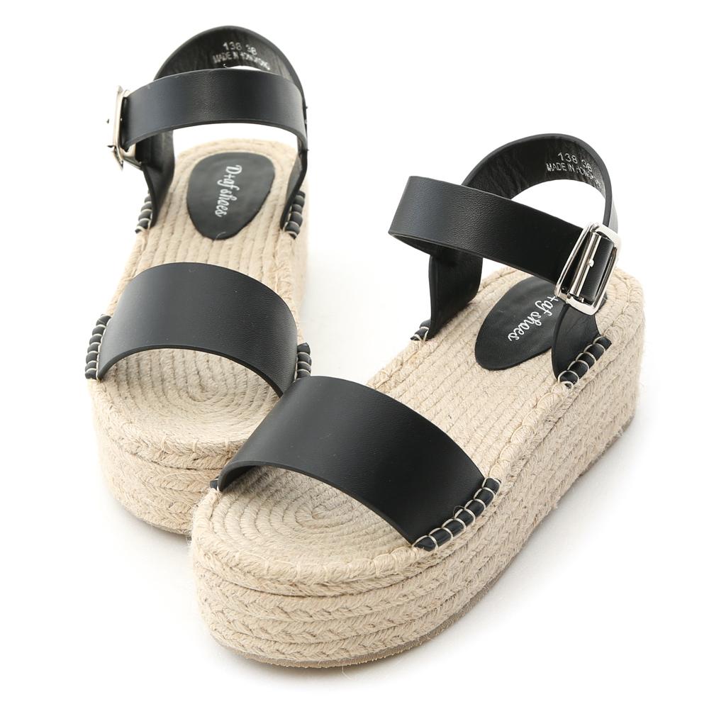 D+AF 夏日焦點.一字草編厚底楔型涼鞋*黑