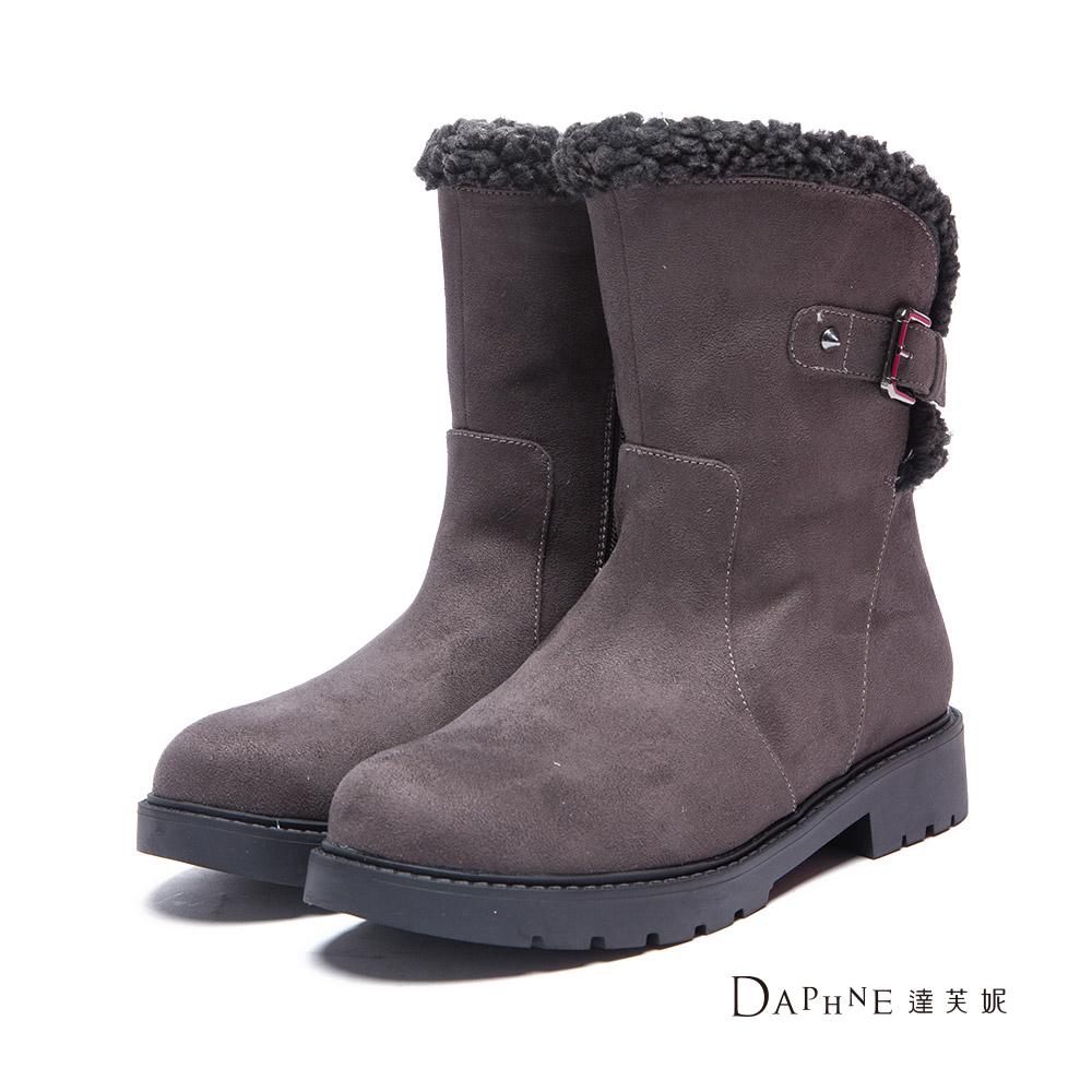 達芙妮DAPHNE 短靴-羔毛邊釦帶絨布工程短靴-灰