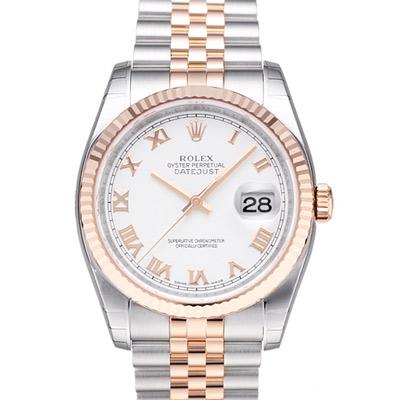 ROLEX 勞力士 DateJust 116231 蠔式恆動玫瑰金日誌型錶-白x羅馬字/36mm