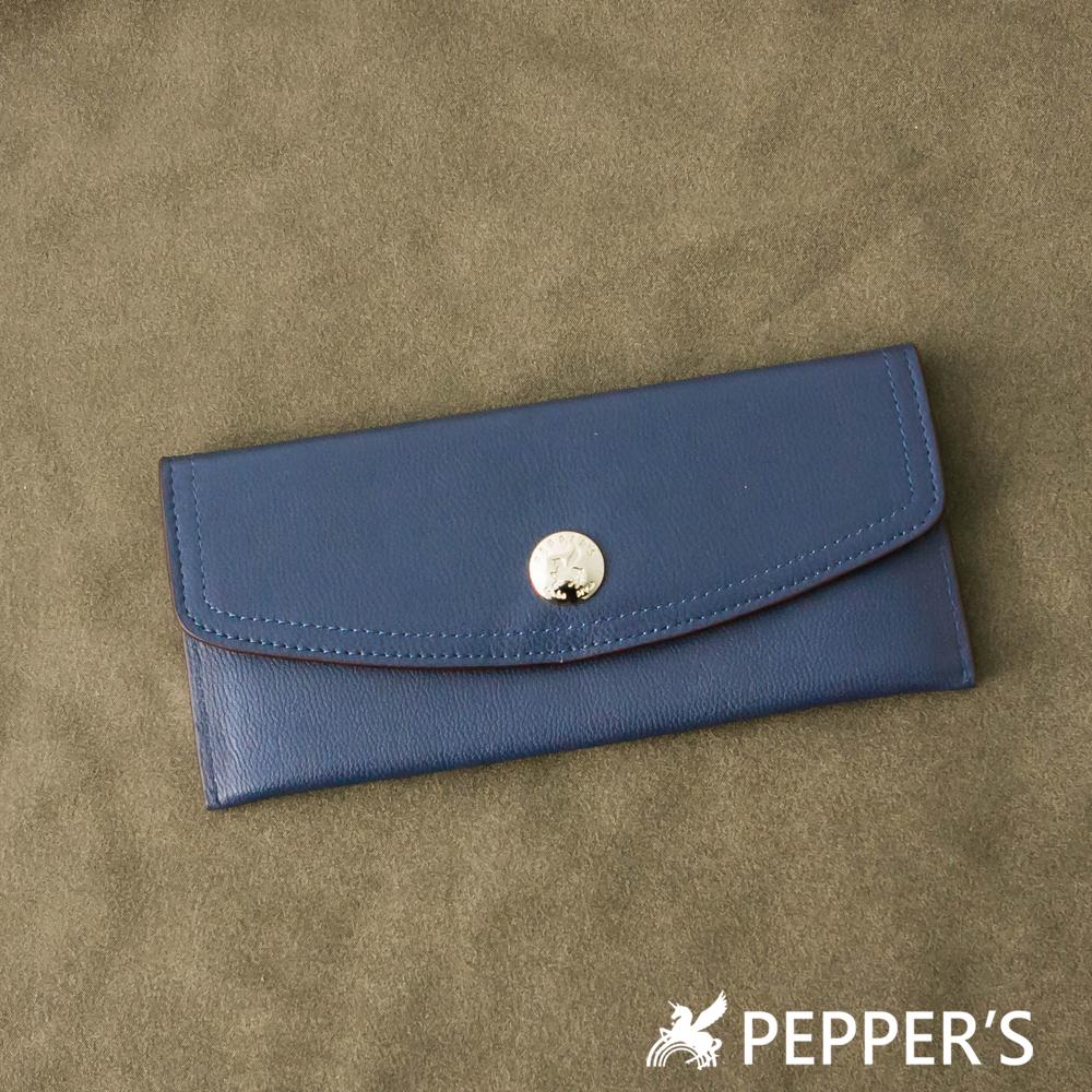 PEPPER`S 天馬包 羊皮質感圓扣長夾-深藍