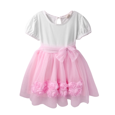baby童衣嬰兒洋裝短袖緞帶蝴蝶結紗紗裙52351
