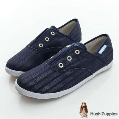 Hush Puppies 無印風網條咖啡紗懶人帆布鞋-深藍